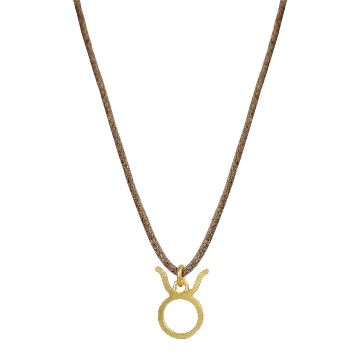 18K Gold Taurus Symbol Pendant on Cord