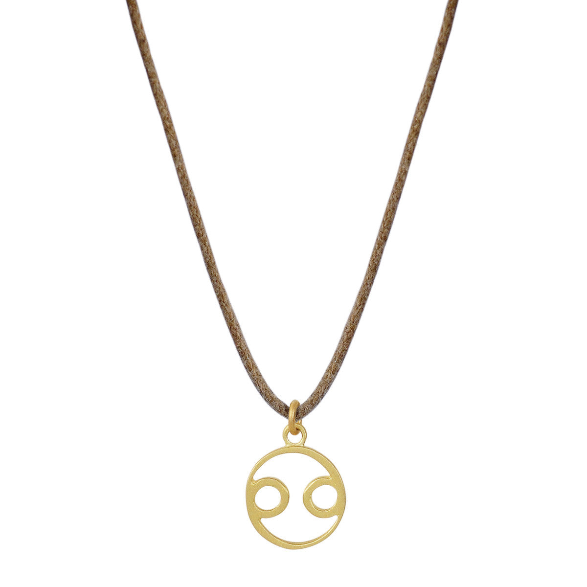 18K Gold Cancer Symbol Pendant on Cord