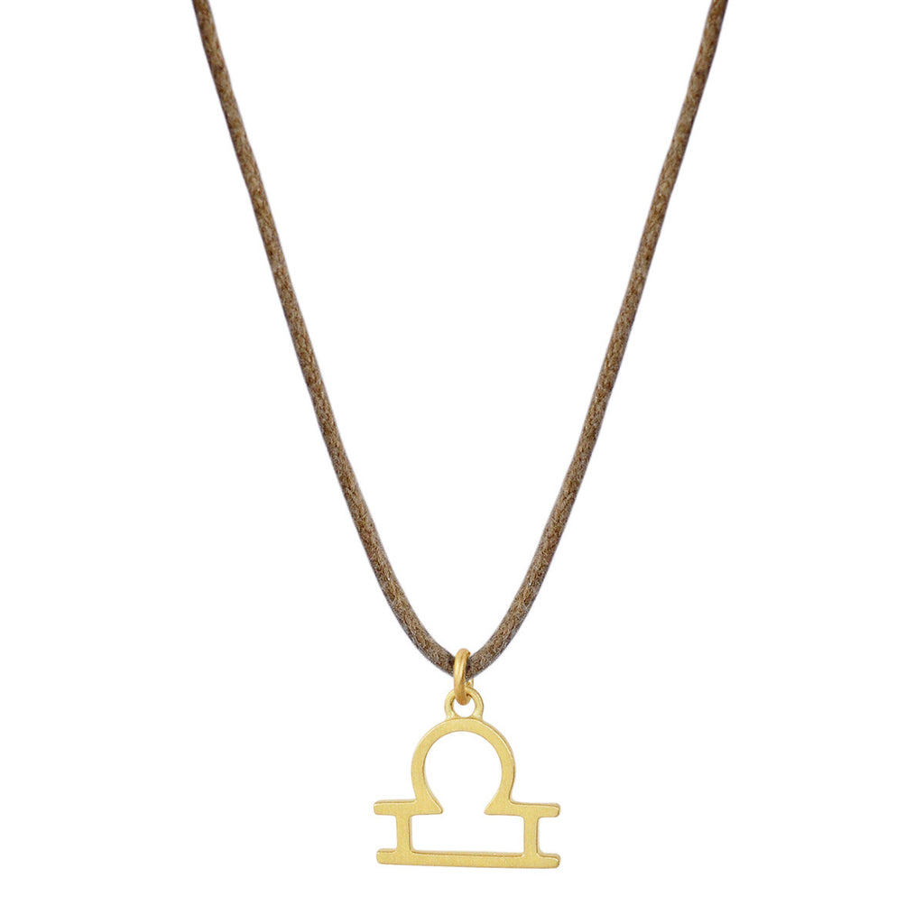 18K Gold Libra Symbol Pendant on Cord