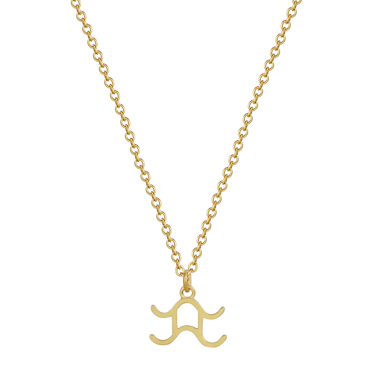 18K Gold Aquarius Symbol Pendant
