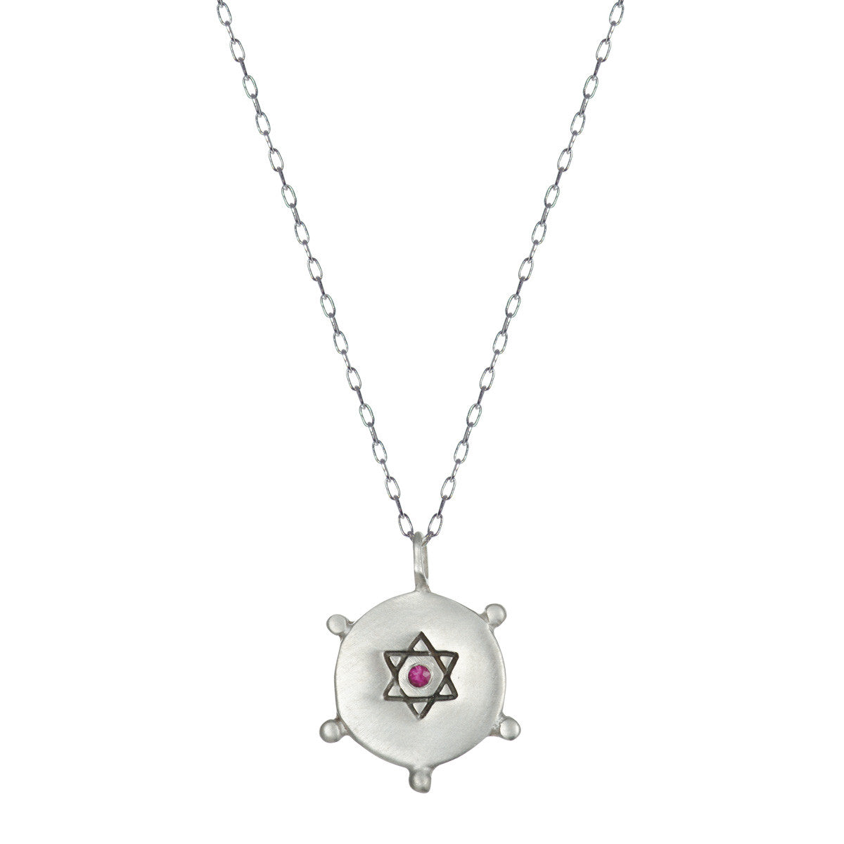 Sterling Silver Small Star of David Pendant with Ruby