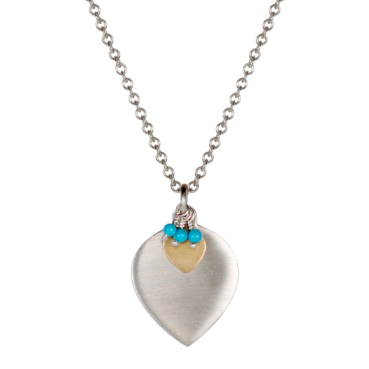Sterling Silver & 10K Gold Double Lotus Petal with Turquoise Beads