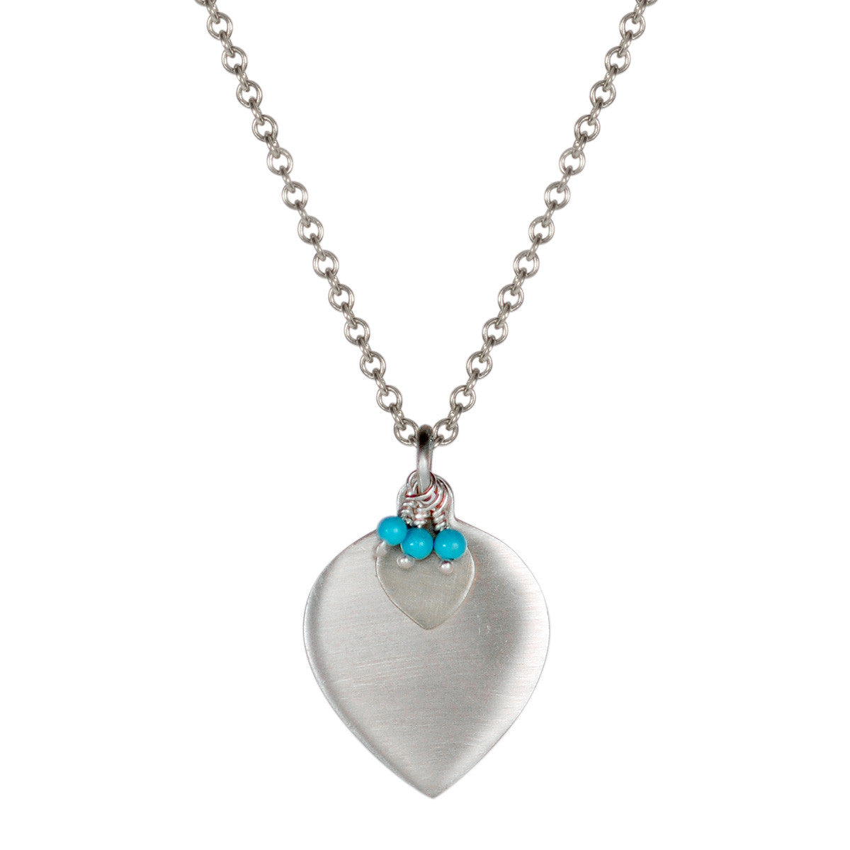 Sterling Silver Lotus Petal Pendant with Turquoise