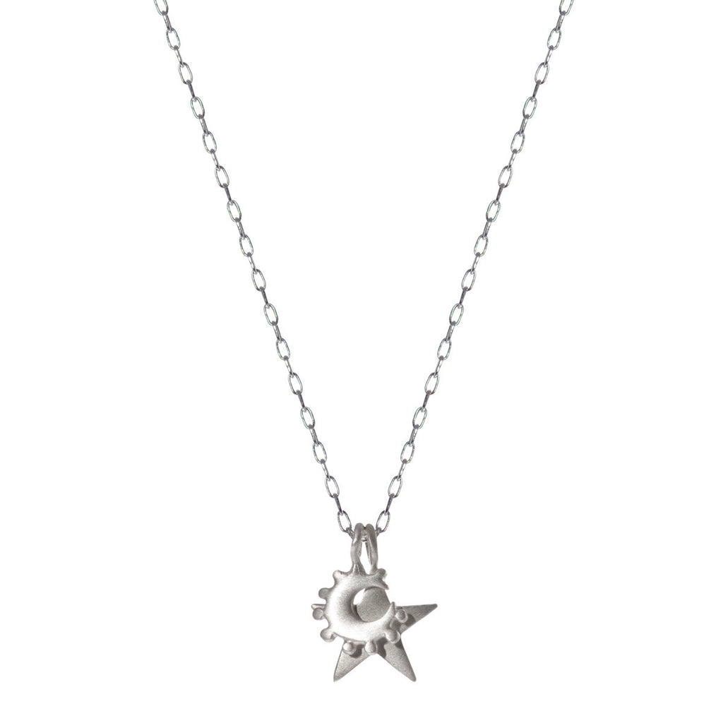 Sterling Silver Tiny Star & Crescent Pendant