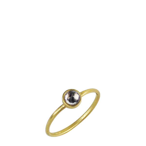 18K Gold Tiny Purple Sapphire Ring