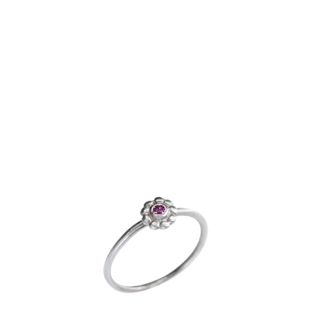 Children's Sterling Silver Small Flower Ring with Pink Sapphire