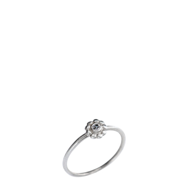 Children's Sterling Silver Small Flower Ring with Diamond