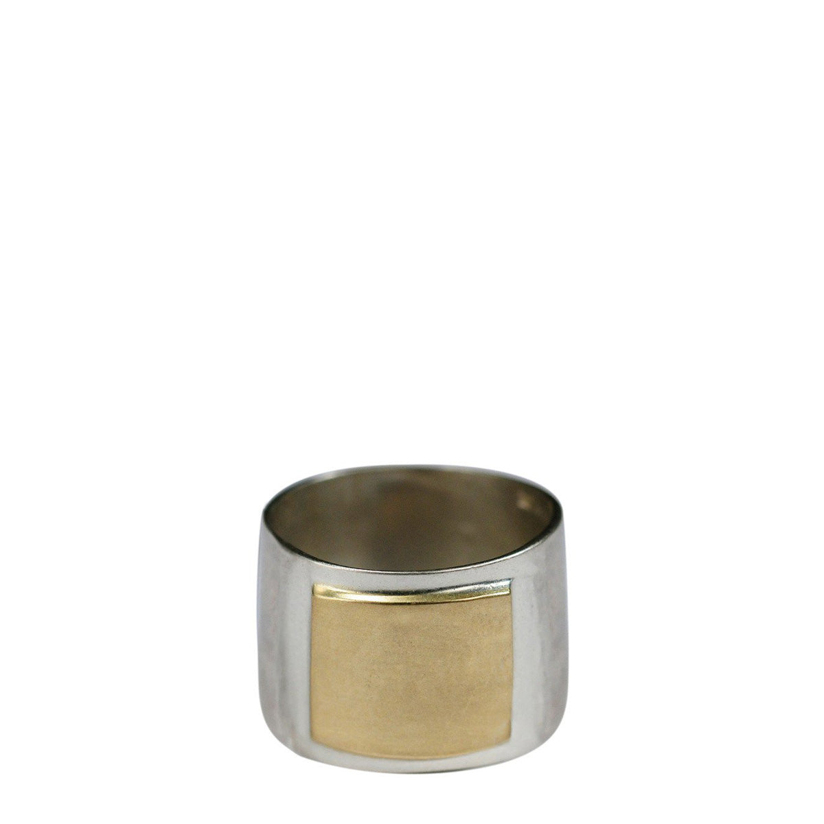 Sterling Silver Wide Flattened Ring with 10K Gold Square