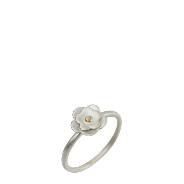 Sterling Silver & 10K Gold Small Double Flower Ring