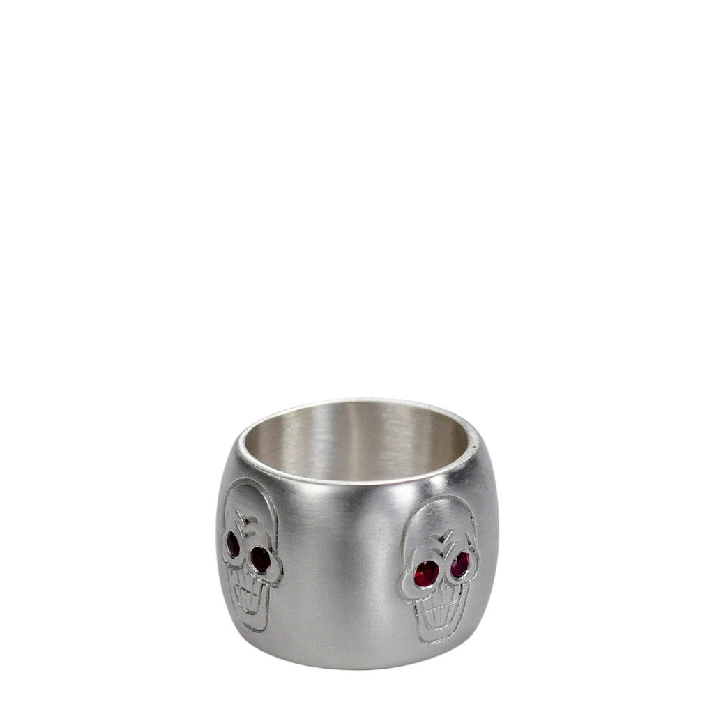 Sterling Silver Wide Skull Band with Ruby Eyes