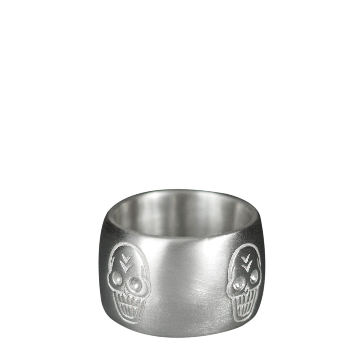 Mens Sterling Silver Wide Skull Band