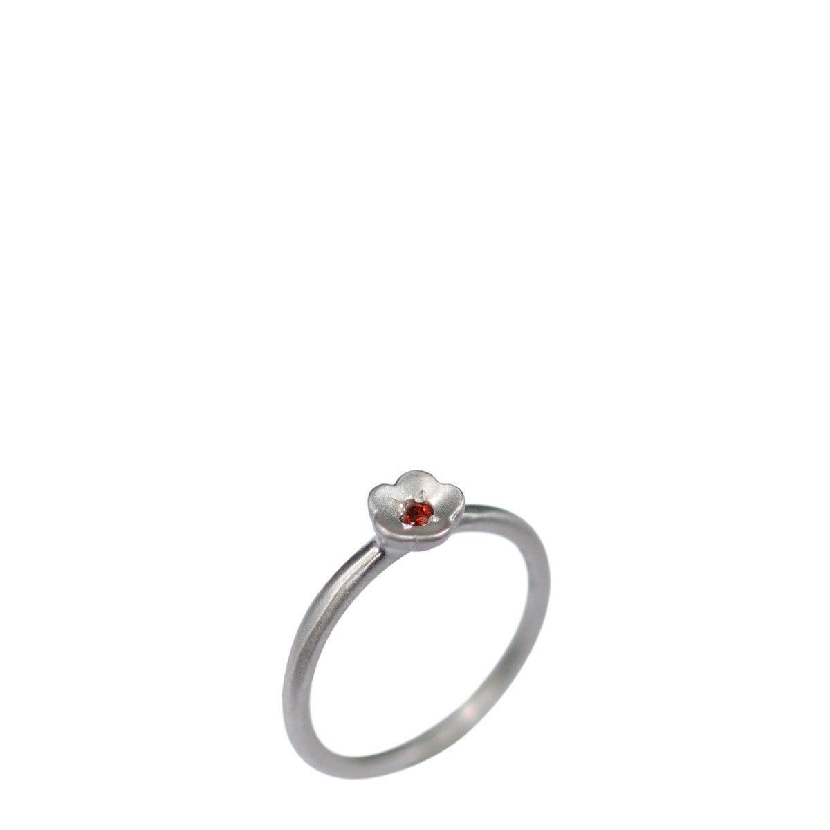 Sterling Silver Buttercup Ring with Garnet