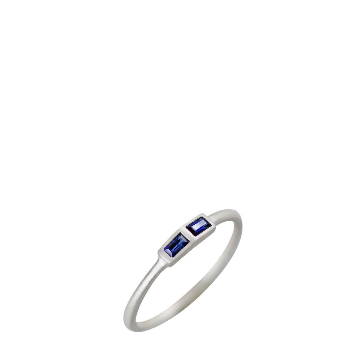 Sterling Silver Tiny Two Stone Sapphire Baguette Ring