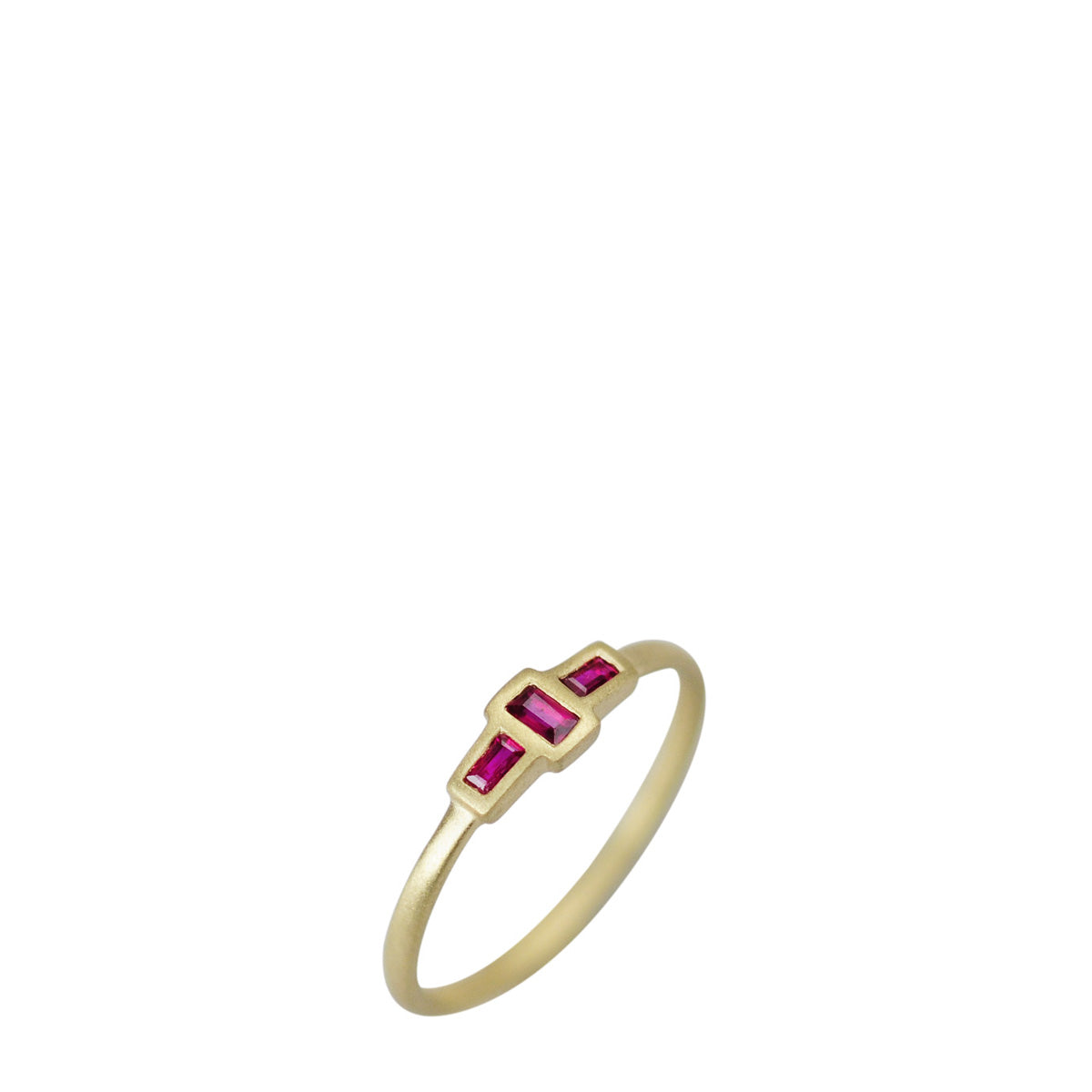 18K Gold Tiny Three Stone Ruby Baguette Ring