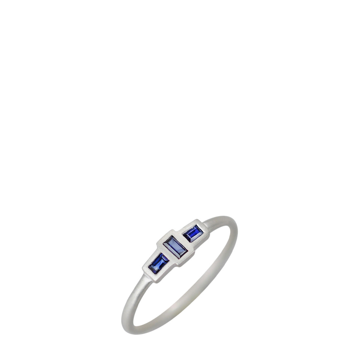 Sterling Silver Tiny Three Stone Sapphire Baguette Ring