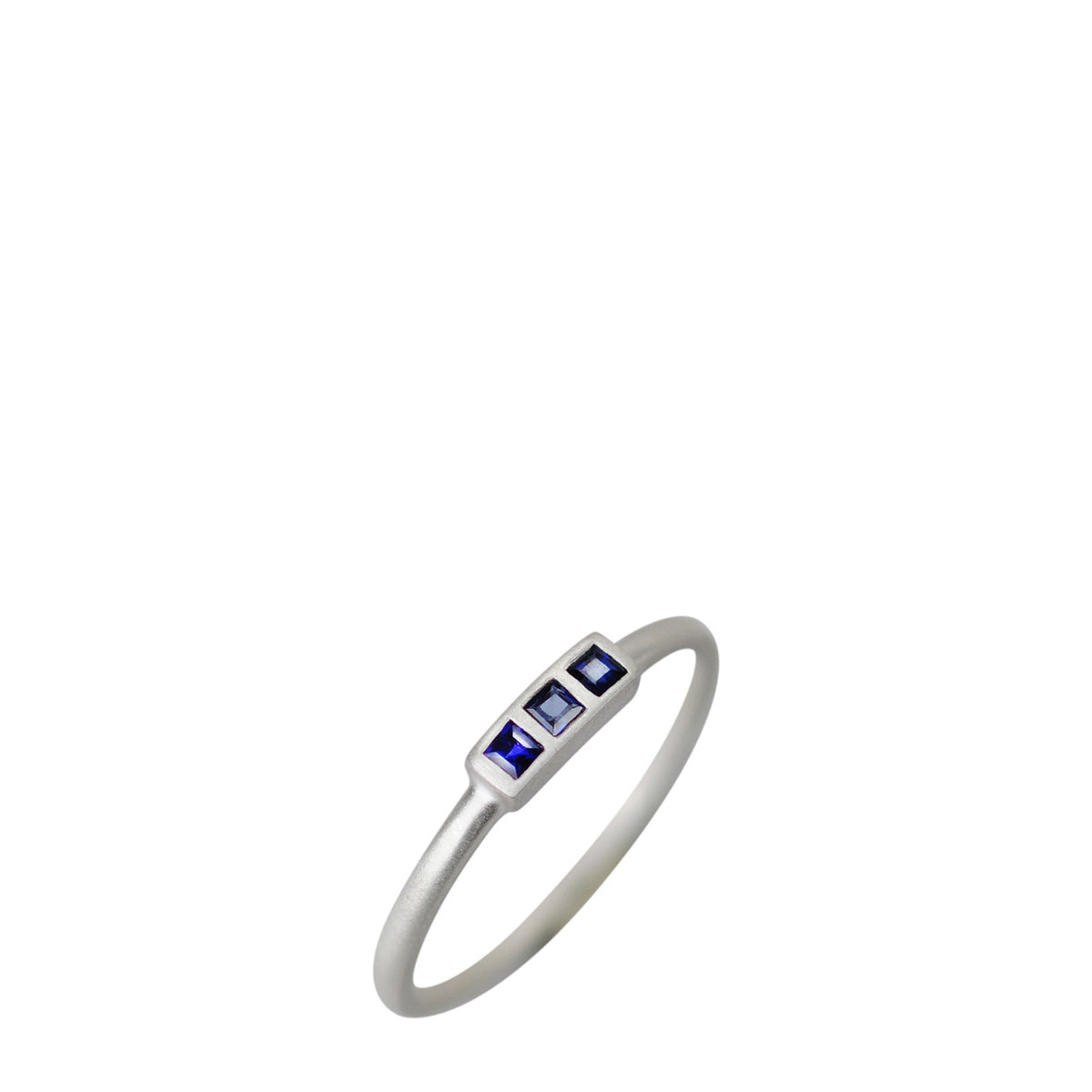 Sterling Silver Tiny Square Three Stone Sapphire Ring