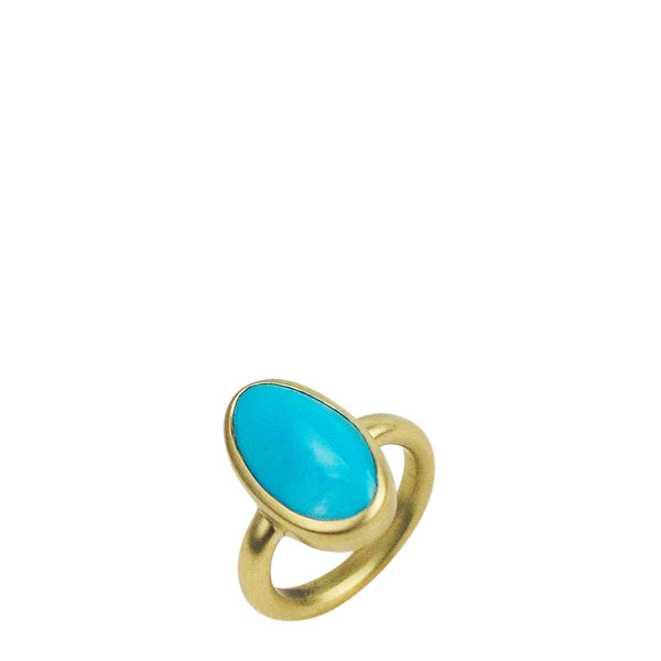 18K Gold Large Narrow Turquoise Ring