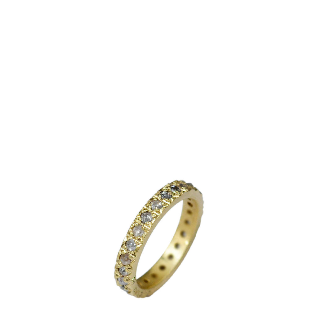 18K Gold 3mm Opaque Diamond Pave Band