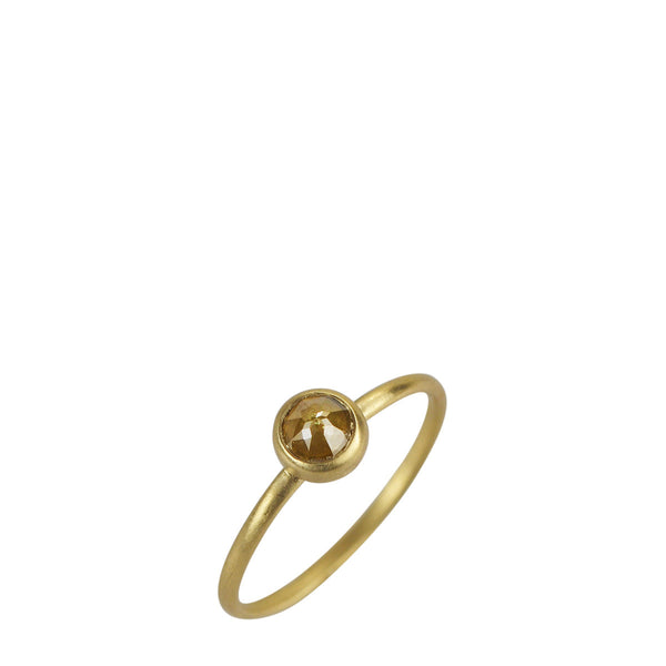 18K Gold Tiny  Opaque Yellow Diamond Ring