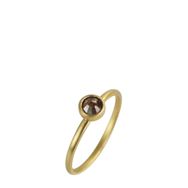18K Gold Tiny Opaque Grey Diamond Ring