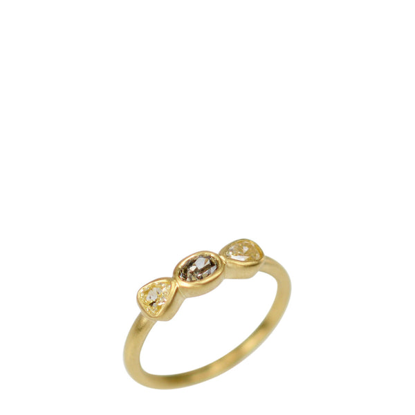 18K Gold Small Three Stone Multi Colored Diamond Ring