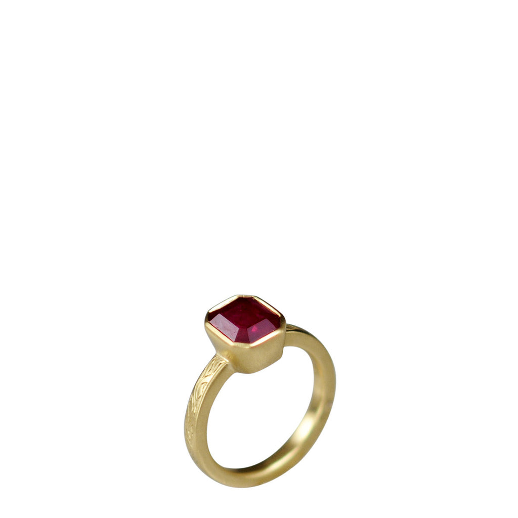 18K Gold Emerald Ruby Ring