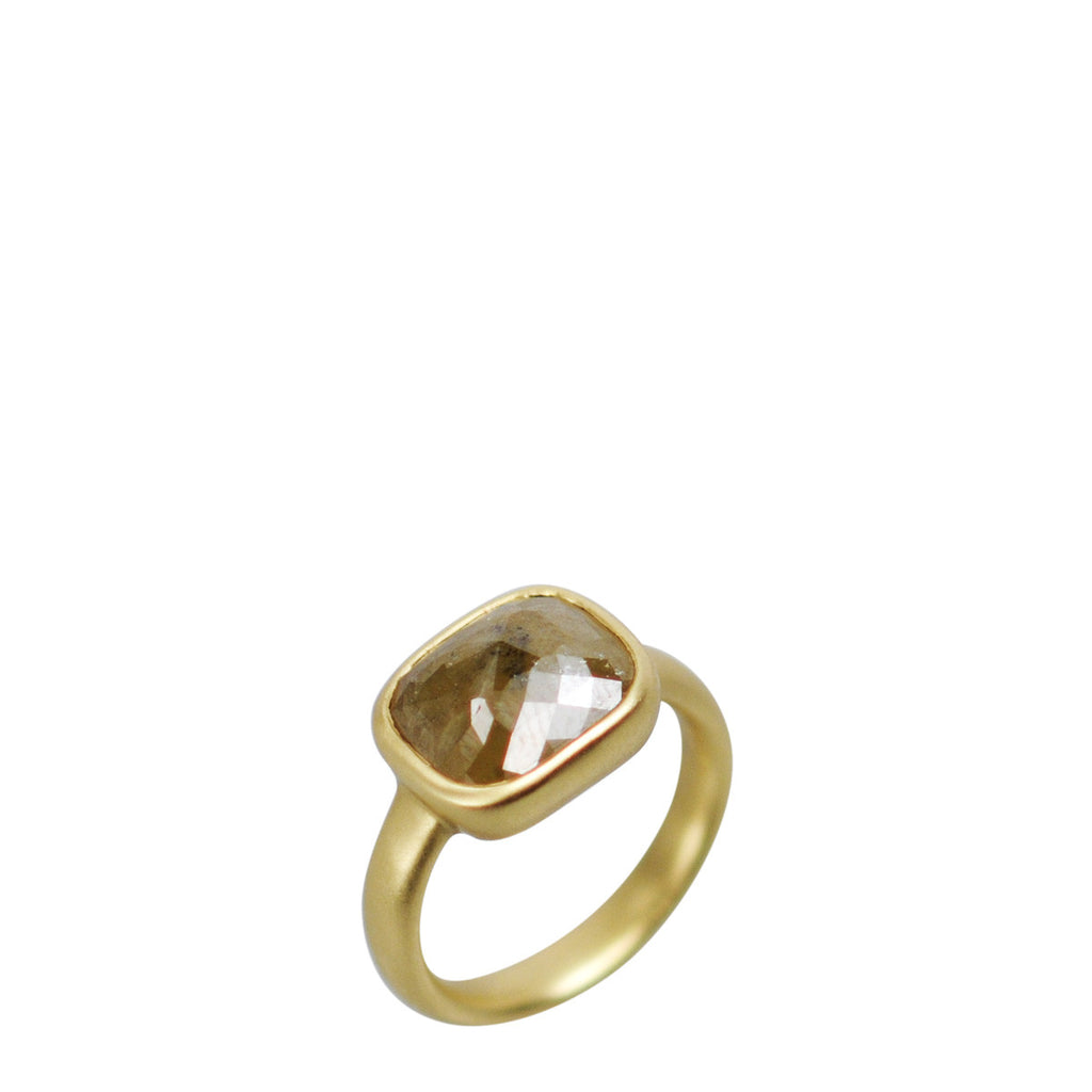 18K Gold Large Square Opaque Diamond Ring