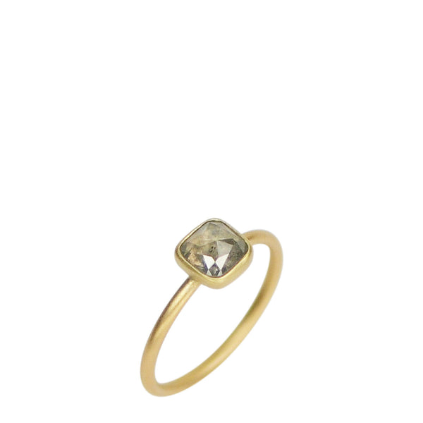 18K Gold Square Opaque Diamond Ring