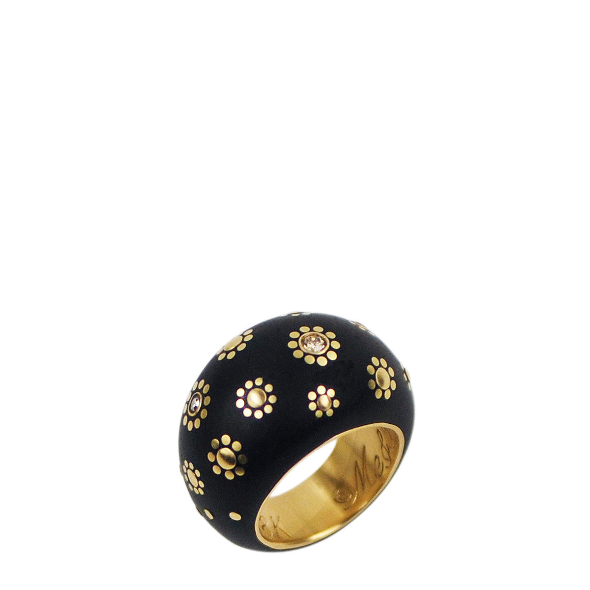 18K Gold Ebony Dome Ring