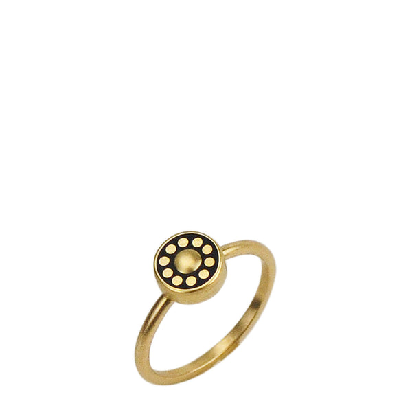 18K Gold Tiny Ebony Flower Ring