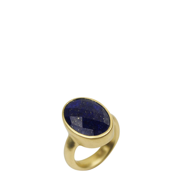 18K Gold Large Lapis Ring