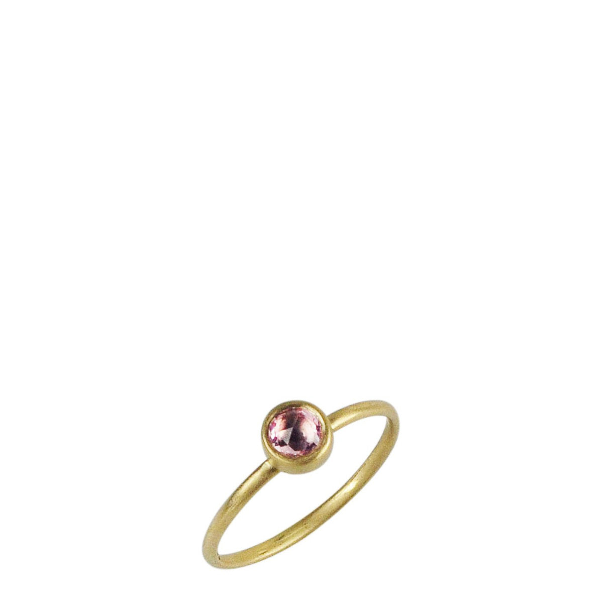 18K Gold Tiny Pink Sapphire Ring