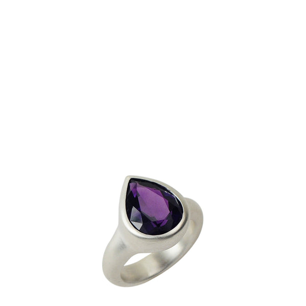 Sterling Silver Amethyst Teardrop Ring