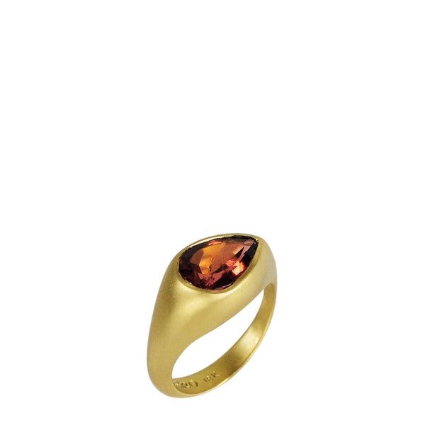 18K Gold Dark Pink Tourmaline Ring