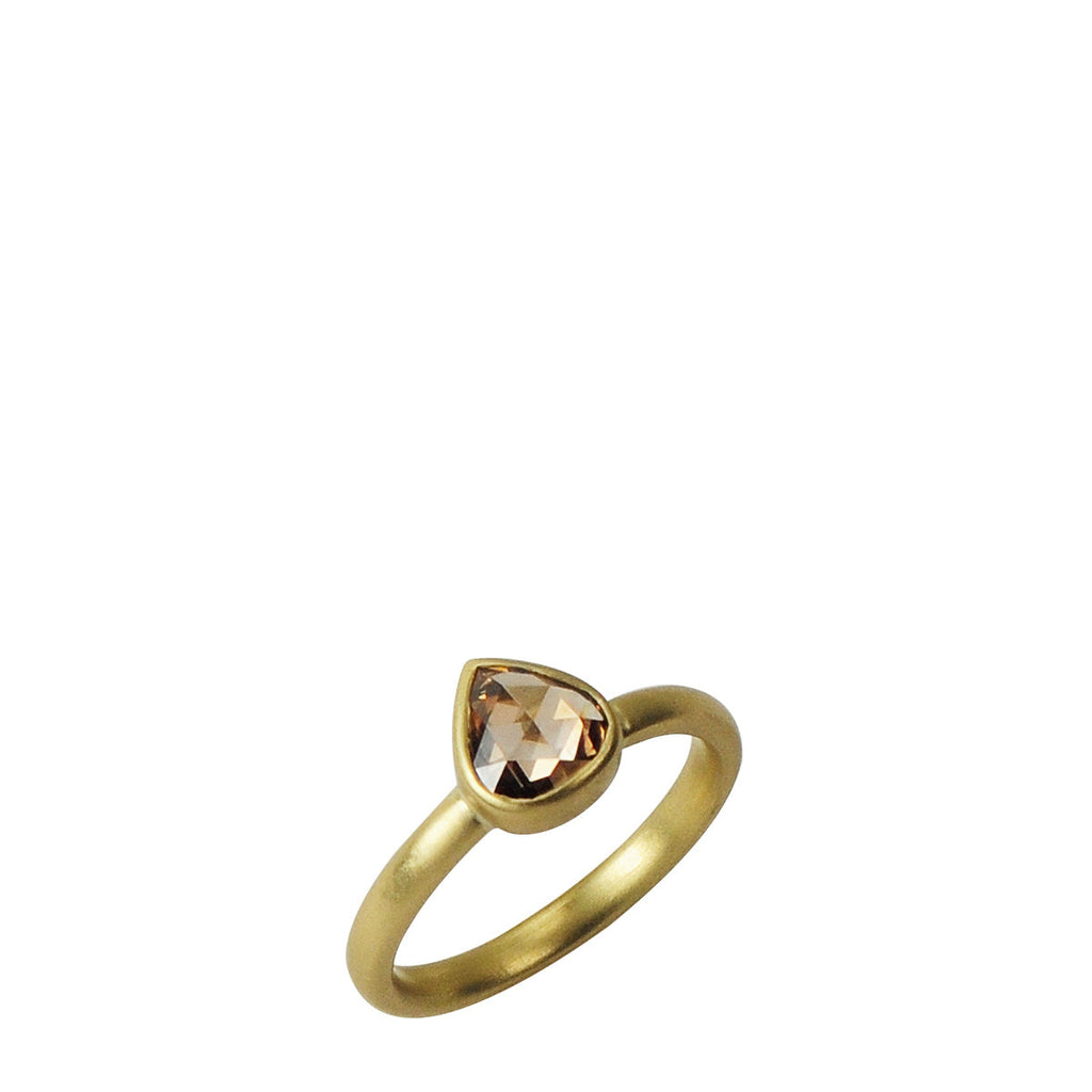 18K Gold Cognac Pear shape Diamond Ring