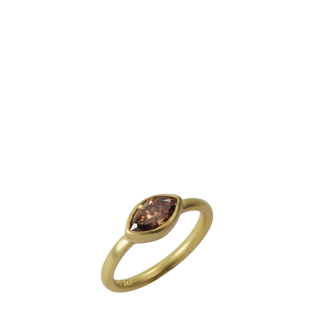 18K Gold Cognac Marquise Diamond Ring