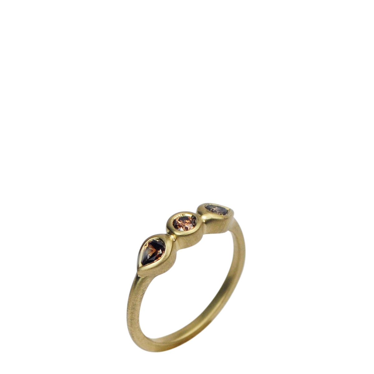 18K Gold Pear Shaped Cognac Diamond Ring