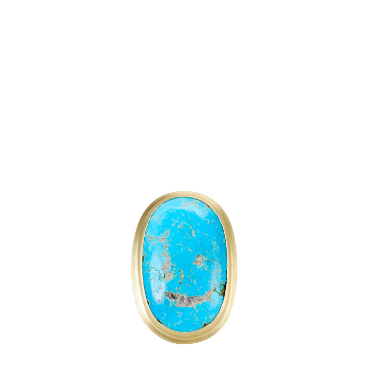 18K Gold Large Oval Persian Turquoise Ring