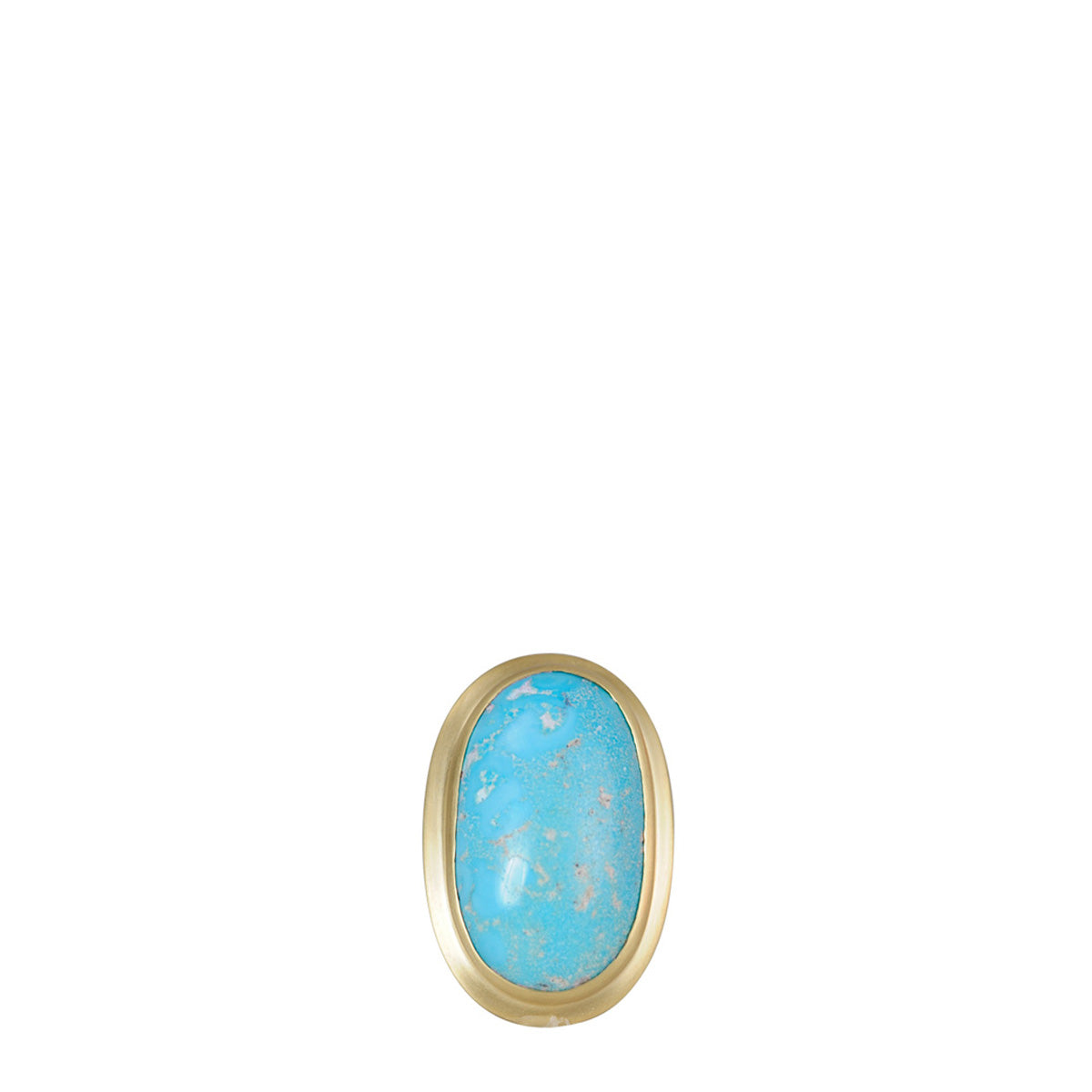 18K Gold Medium Oval Persian Turquoise Ring