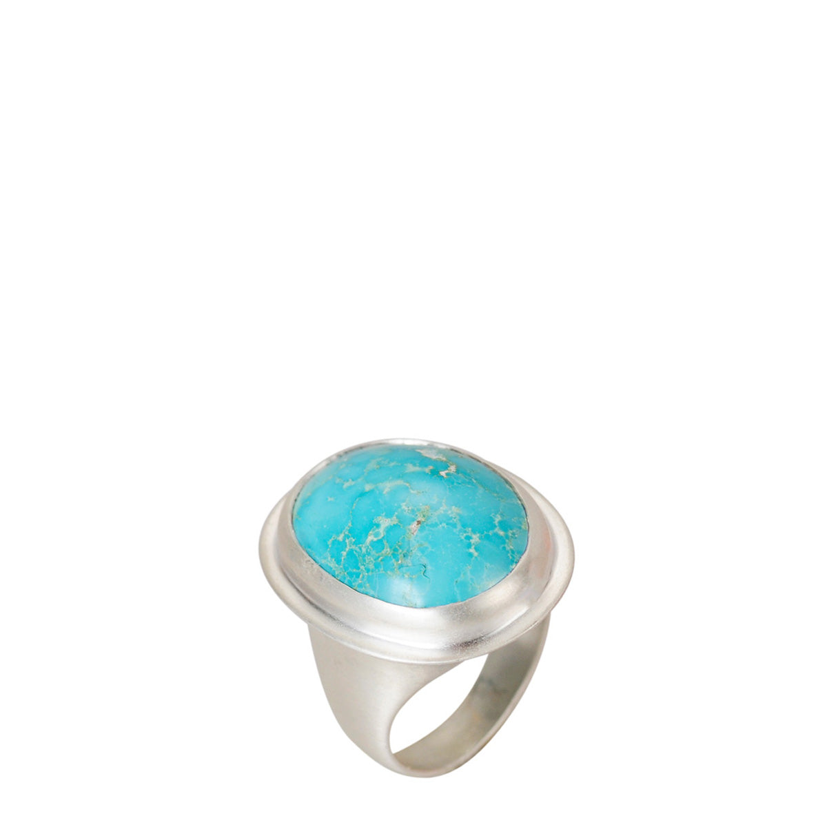 Sterling Silver Medium Oval Persian Turquoise Ring