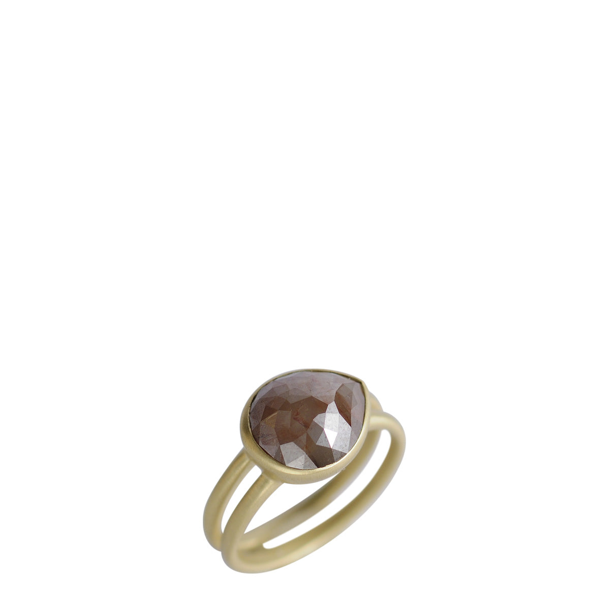 18K Gold Burnt Sienna Opaque Diamond Teardrop Ring