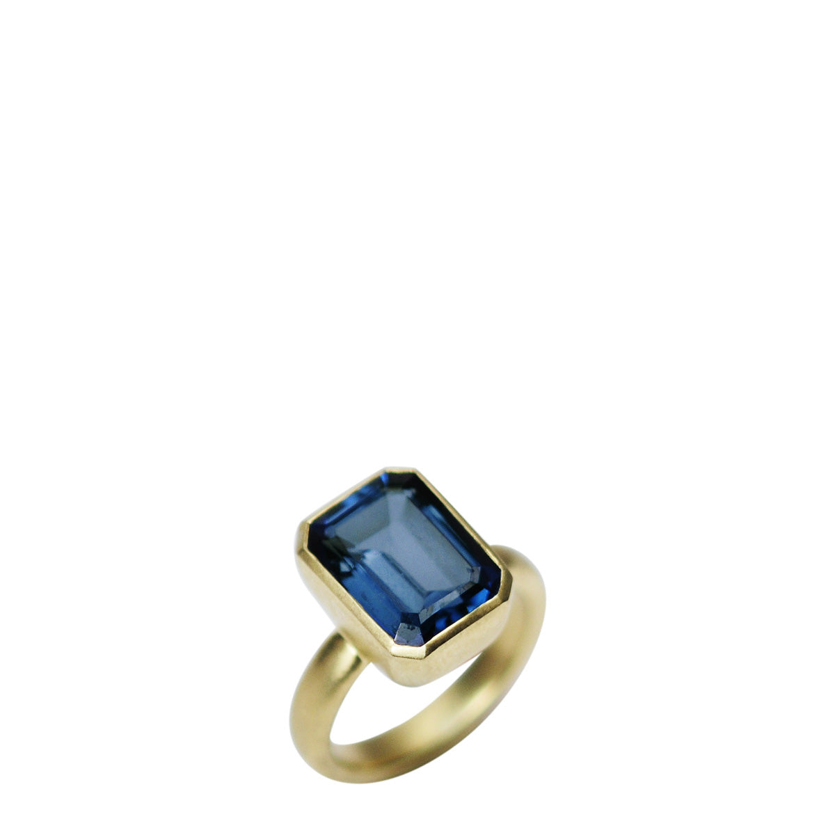 18K Gold Blue Topaz Emerald Cut Ring