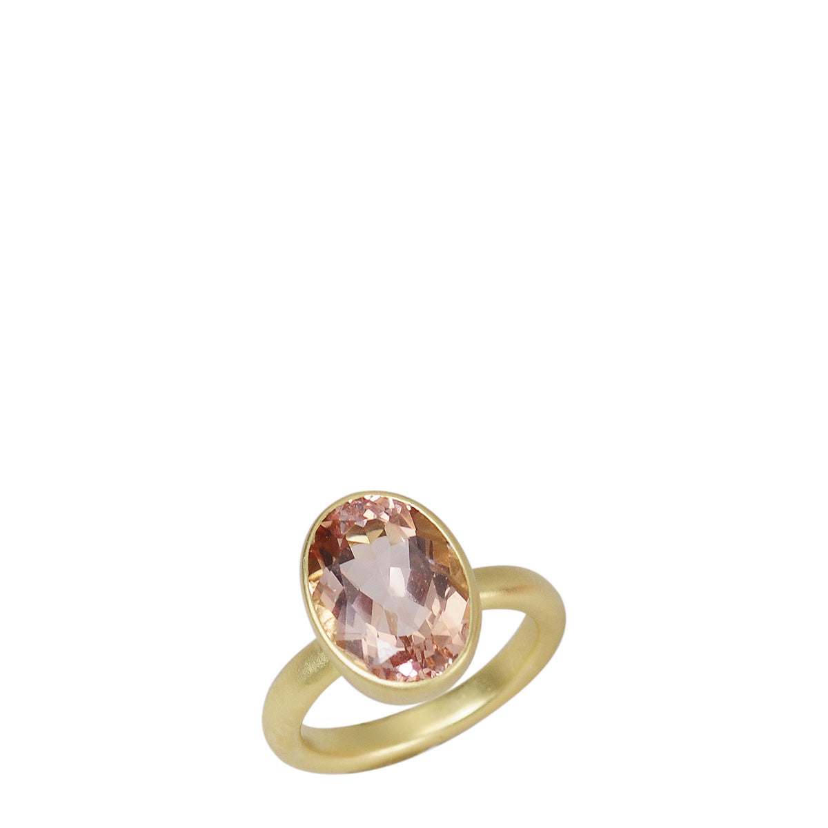 18K Gold Morganite Oval Ring