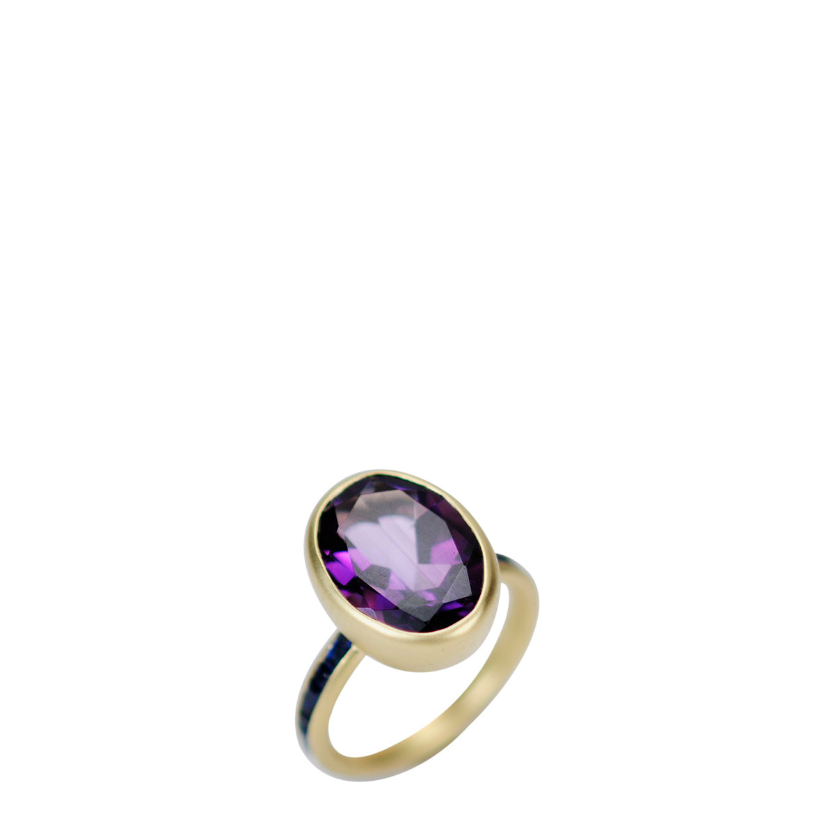 18K Gold Amethyst Oval On Blue Sapphire Baguette Ring