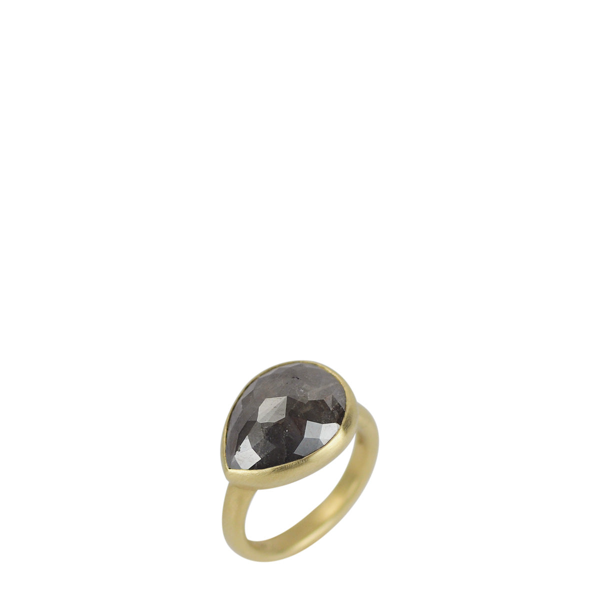 18K Gold Grey Opaque Diamond Teardrop Ring