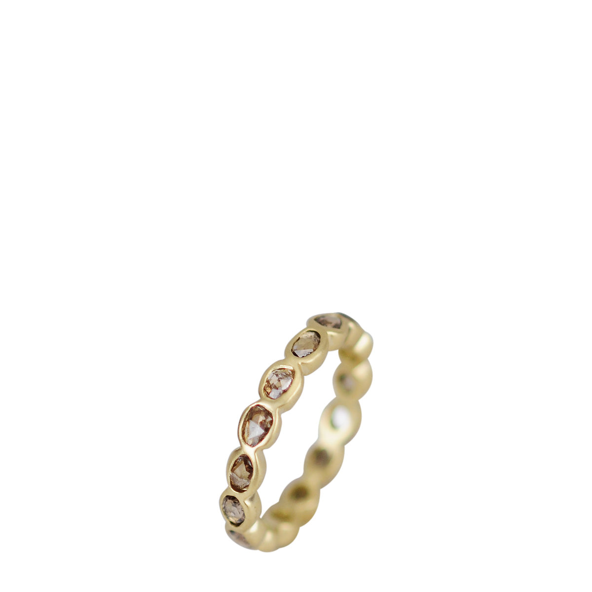 18K Gold Amorphous Cognac Diamond Band