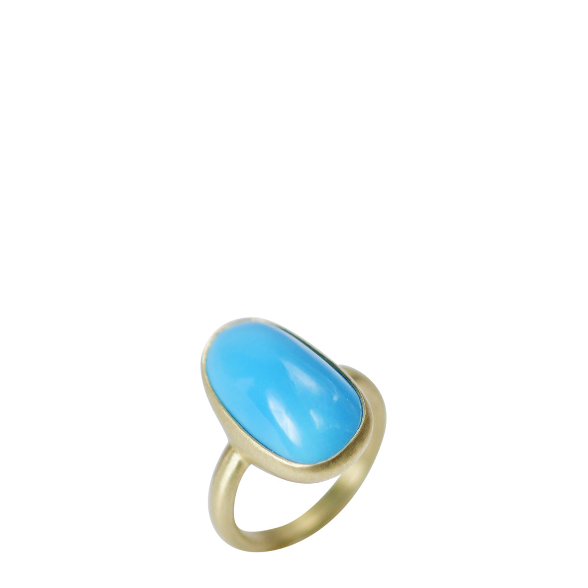 18K Gold Narrow Turquoise Ring