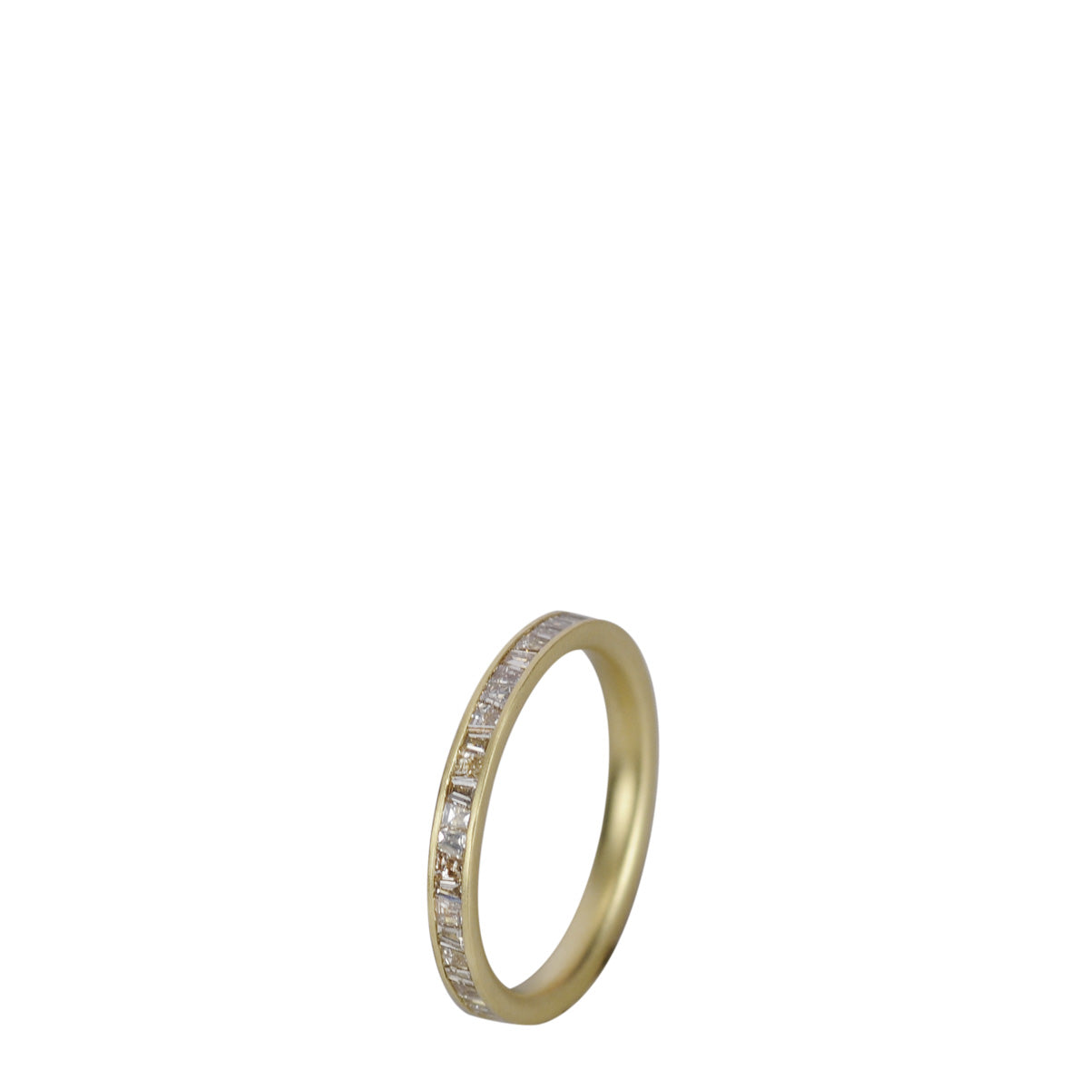 18K Gold Fine Tapered Baguette Champagne Diamond Band