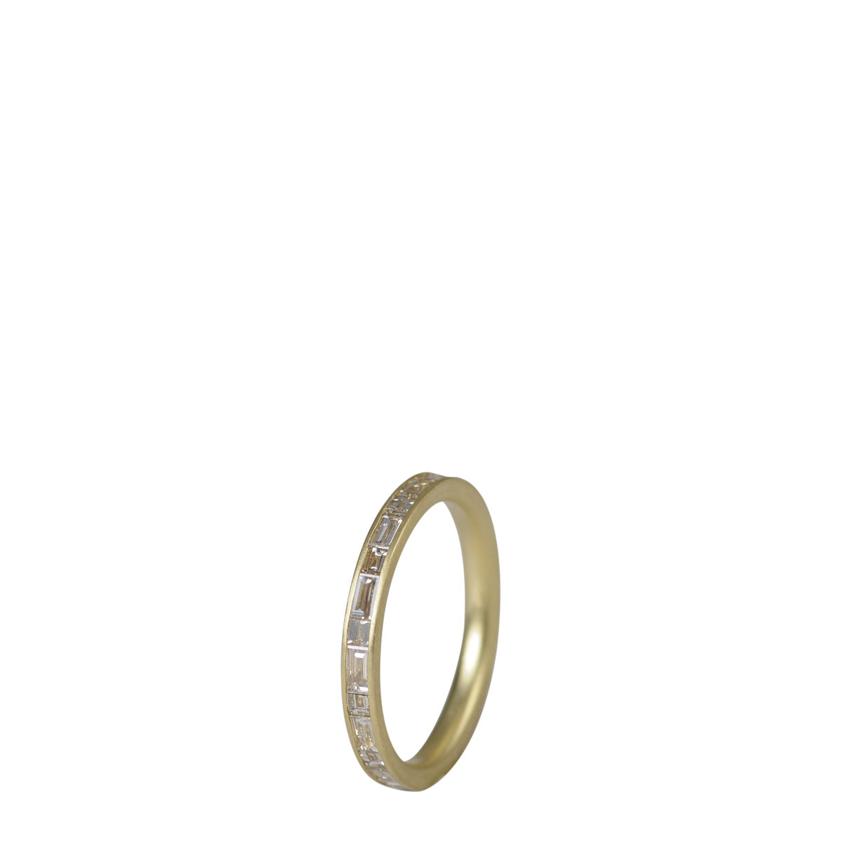 18K Gold Fine Baguette and Step Cut Champagne Diamond Band