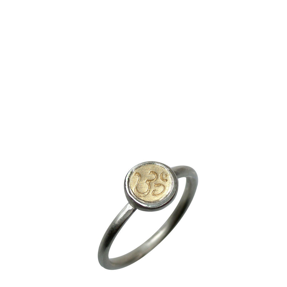Sterling Silver & 10K Gold Tiny Om Bezel Ring